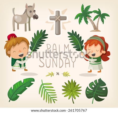 Decorative elements for Palm Sunday and palm leaves. - stock vector