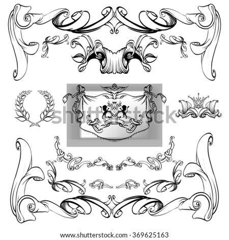 decorative elements in vintage style for decoration layout, framing, for advertising, vector illustration hands, heraldry background for the logo, emblem, lion and shield cloth, crown  - stock vector