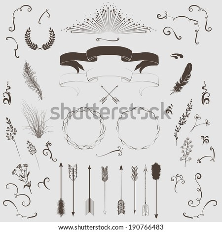 Decorative elements set: arrows, laurel, wreath, feathers, ribbons and labels. - stock vector