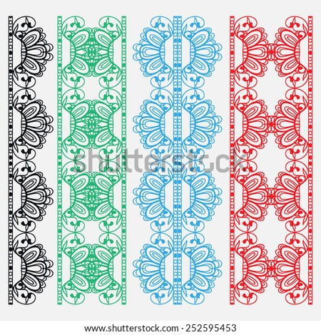 Decorative elements set, colorful lace border pattern for invitation card design, vector collection - stock vector
