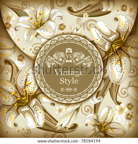 Decorative envelope with floral ornaments and vintage label - stock vector