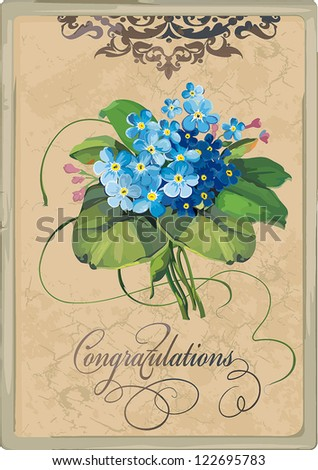 Decorative floral background with Flowers forget-me-not on light background, Elegance retro vector illustration. - stock vector