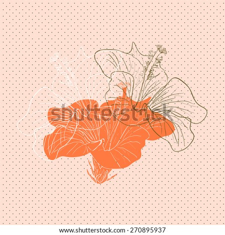Decorative floral background with flowers of hibiscus - stock vector
