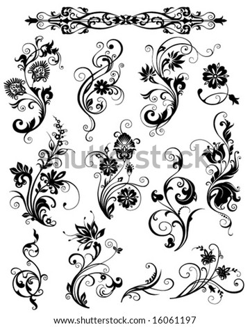 decorative floral elements - stock vector