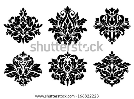 Decorative floral elements and embellishments in damask vintage style for design - stock vector