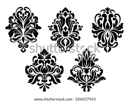 Decorative floral elements set in retro damask style isolated on white background - stock vector