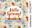 "decorative floral frame, ""hello spring"" card, vector illustration - stock vector"