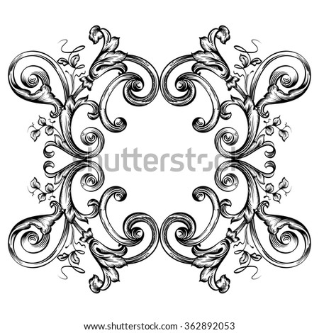 Decorative floral frame with stylized leaves. Artistic cartouche drawing on a tablet. - stock vector