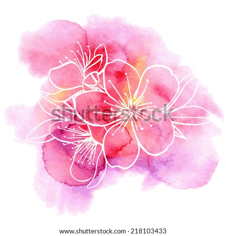Decorative floral illustration of cherry flowers on a watercolor background  - stock vector