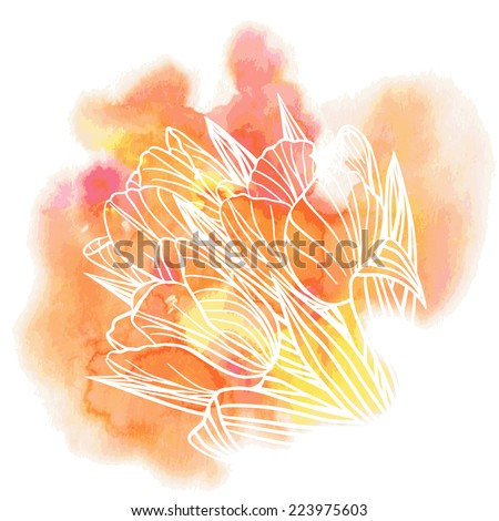 Decorative floral illustration of tulip flowers on a watercolor background  - stock vector