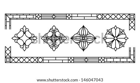 Decorative flower element, a set of classic stained glass window silhouettes, vector illustration - stock vector