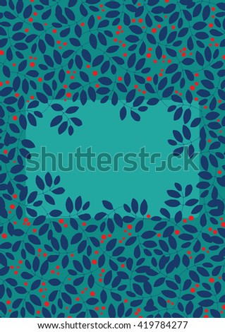Decorative frame in the form of hole in the bush - stock vector