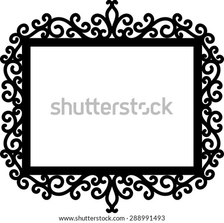 decorative frame silhouette in black isolated on white background, ideal for your invitations designs or laser cut projects - stock vector