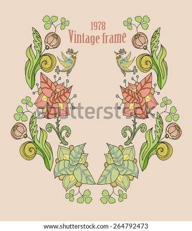decorative frame with flowers and birds - stock vector