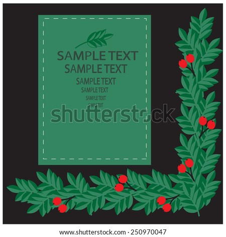 decorative frame with rowan berries - stock vector