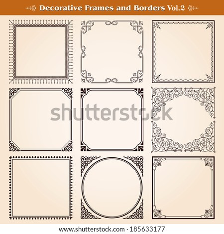 Decorative frames and borders set vector - stock vector
