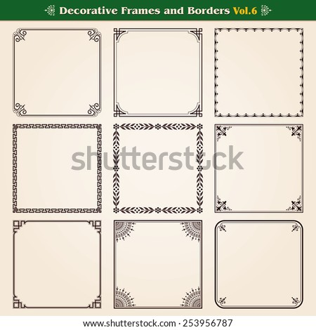 Decorative frames and borders set 6 vector - stock vector