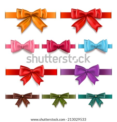 Decorative gift ribbons and bows colored collection isolated vector illustration - stock vector