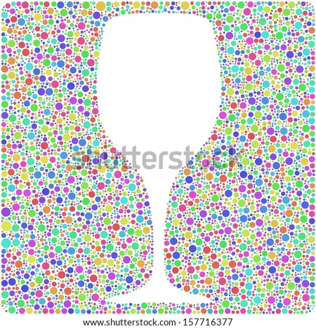 Decorative glass of wine into a square icon. Mosaic of harlequin bubbles. A number of 4819 little circles are accurately inserted into the mesh. White background - stock vector