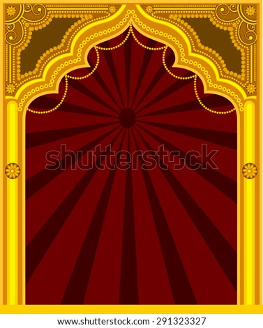 Decorative Golden Frame - Arab Mythological - stock vector