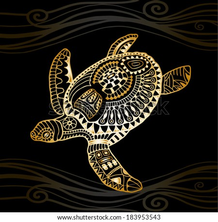 Decorative golden turtle, graphic style, tribal totem animal, vector illustration, isolated design elements, gold on black wave pattern - stock vector
