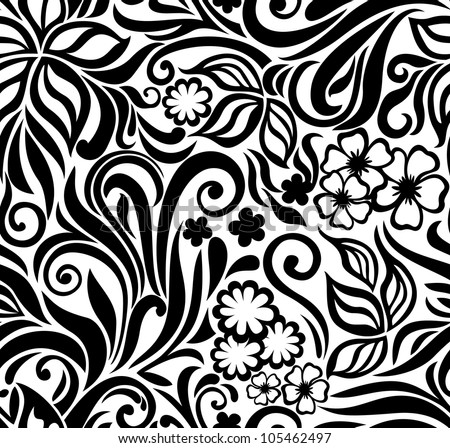 Decorative graphic curly seamless background with flowers and leaves - stock vector