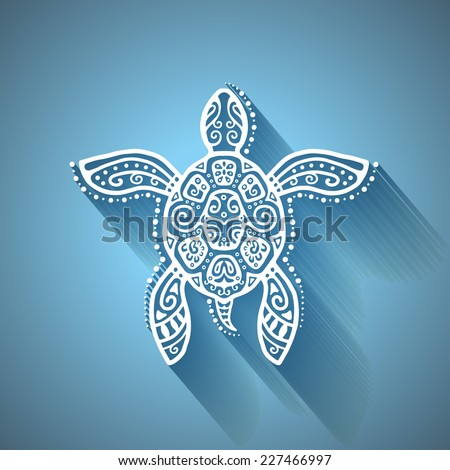Decorative graphic turtle with shadow, tattoo style, tribal totem animal, detailed lace pattern, isolated element on blue background, vector illustration - stock vector