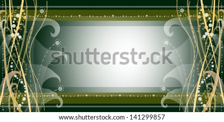 Decorative green background with plants - stock vector