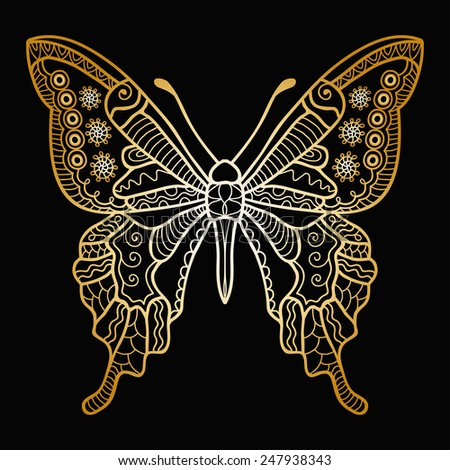 Decorative hand drawn butterfly in graphic style, isolated gold on black vector illustration - stock vector