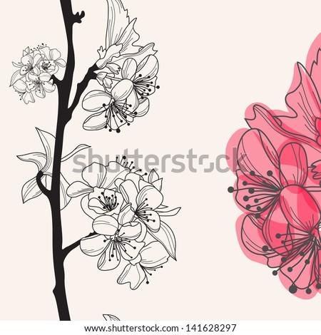 decorative hand drawn cherry blossom , seamless pattern - stock vector