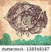 Decorative hand drawn fish on vintage background - stock vector