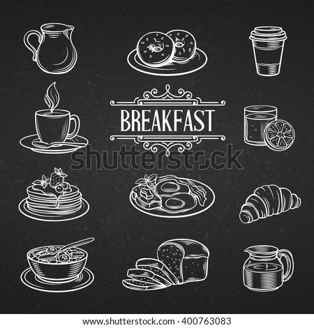 Decorative hand drawn icons breakfast foods. Vintage vector  illustration breakfast  in chalkboard style.  - stock vector