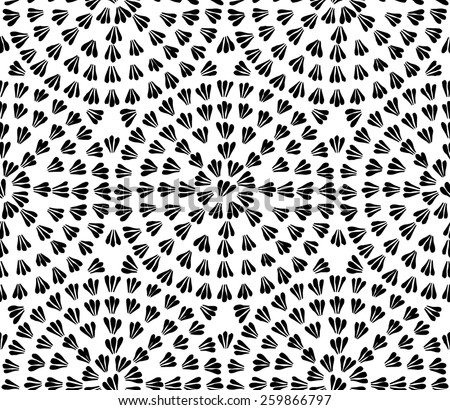 Decorative hand drawn seamless vector pattern. Simple floral elements arranged in circles. Ethnic style black and white minimalistic background. - stock vector