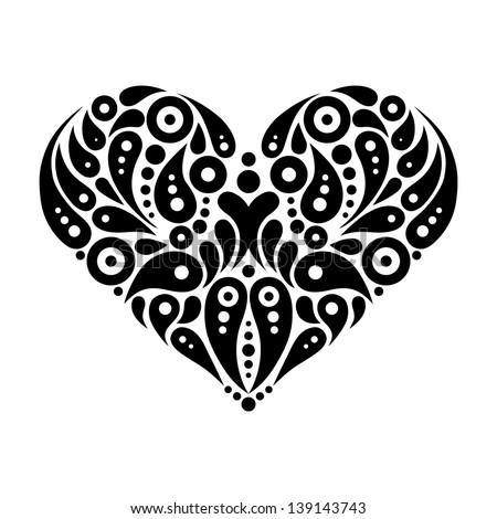 Decorative heart tattoo - stock vector