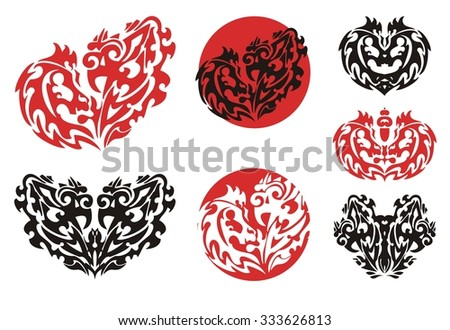 Decorative hearts and circles. Tribal flaming heart formed by the horse head and the head of a rooster, circles and symbols from it - stock vector
