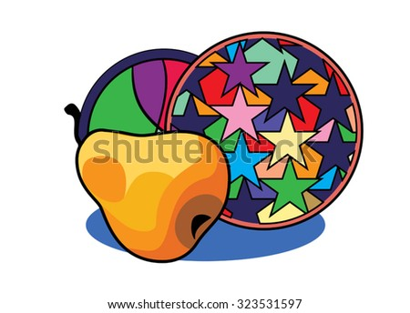 decorative image of a ripe PEAR on a background of decorative tray - stock vector