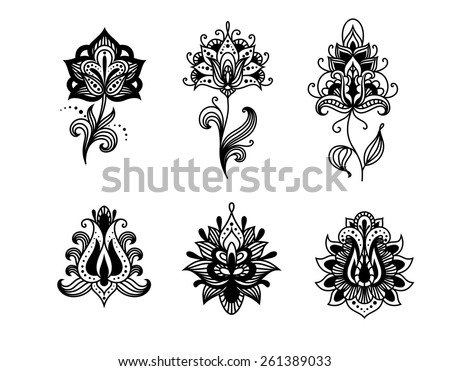 Decorative indian or persian paisley flowers set isolated on white background - stock vector
