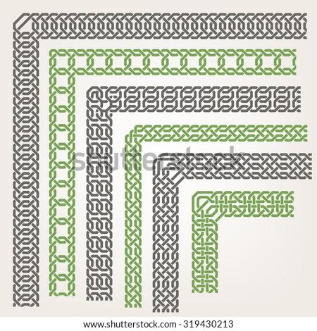 Decorative islamic ornamental border with corner - stock vector