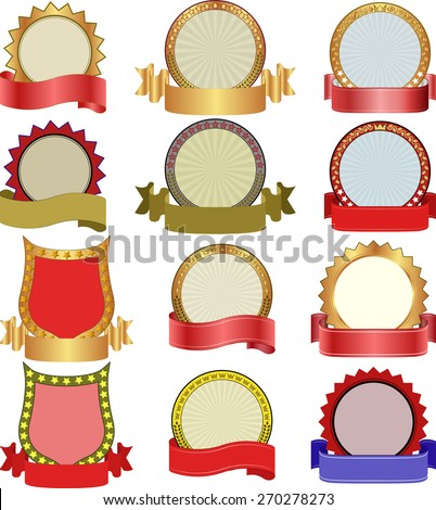 decorative labels with ribbon - stock vector