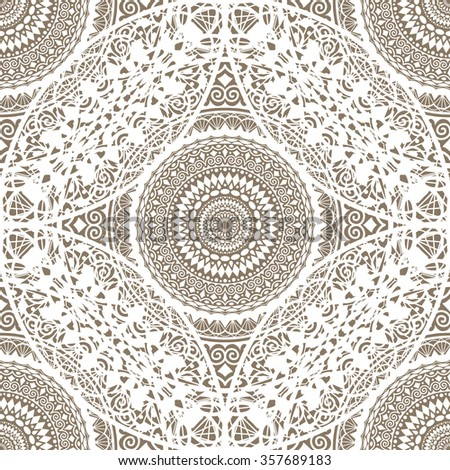 Decorative Lace Doily seamless pattern. Round ornaments. Mandala design elements. White geometric pattern with floral motif. Boho style with flowers. Vector Illustration - stock vector