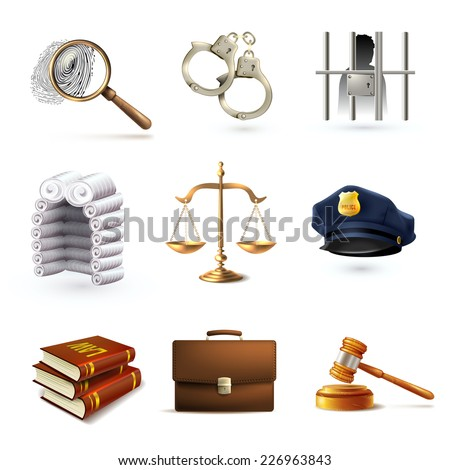 Decorative law legal justice police icons set with briefcase scales prisoner isolated vector illustration - stock vector