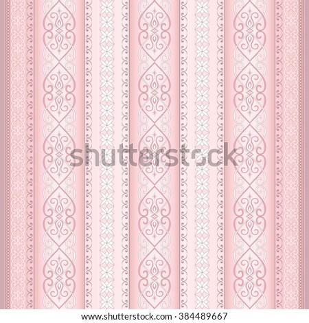 Decorative light pink seamless border. Element for design. Ornamental backdrop. Pattern fill. Ornate floral decor for wallpaper. Traditional decor on pink background. - stock vector