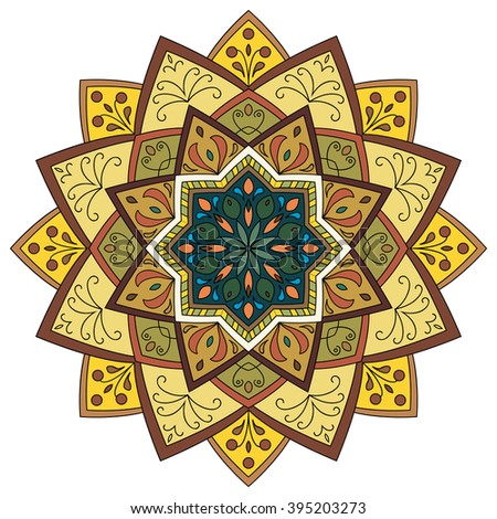 Decorative mandala isolated on white background. Colored indian ornament. Vector illustration. Hand drawn background. Elements for your design.  - stock vector