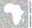 Decorative map of Africa in a mosaic of harlequin bubbles A number of 3927 little bubbles are accurately inserted into the mosaic. White background. - stock vector