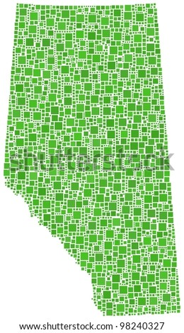 Decorative map of Alberta (Canada) in a green mosaic of squares. A number of 2770 little squares are accurately inserted into the mosaic. White background. - stock vector