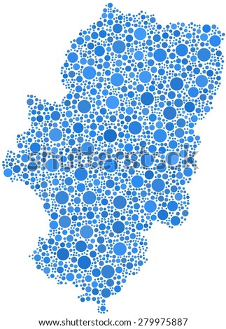 Decorative map of Aragon - Spain - in a mosaic of blue bubbles - stock vector