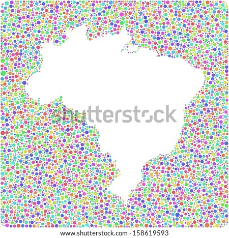 Decorative Map of Brasil into a square sign. A number of 5425 little bubbles are accurately inserted into the mosaic. White background. - stock vector