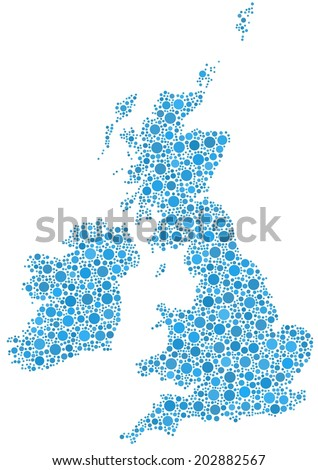 Decorative map of Great Britain and Ireland. A mosaic of little blue circles. - stock vector