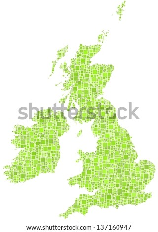 Decorative map of Great Britain and Ireland. A mosaic of little green squares. A number of 3458 little squares are accurately inserted into the mosaic. White background.  - stock vector