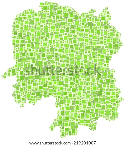 Decorative map of Hunan province of China in a mosaic of green squares - stock vector